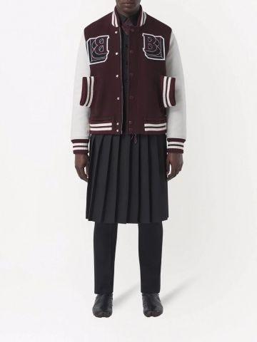 Maroon Leather Sleeve Technical Wool Varsity Jacket