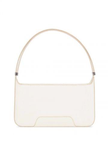 White Leather TB Shoulder Bag