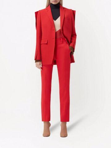 Blazer rosso con pannelli a contrasto