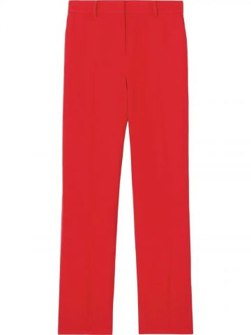 Red high-waisted tailored trousers