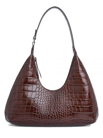 Amber Nutella croco embossed leather