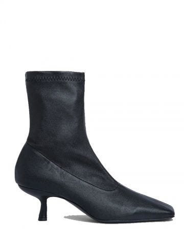 Audrey black stretch leather ankle boots