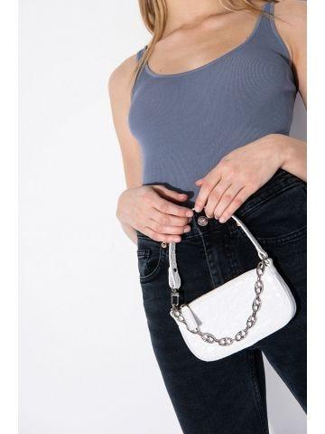 Mini White Rachel Croco Embossed Leather