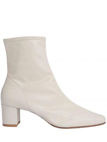 White leather Sofia ankle boots