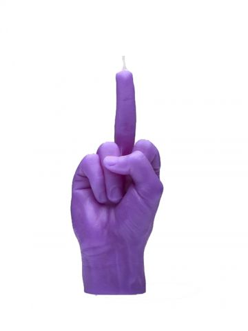 Purple hand gesture candle F*ck you
