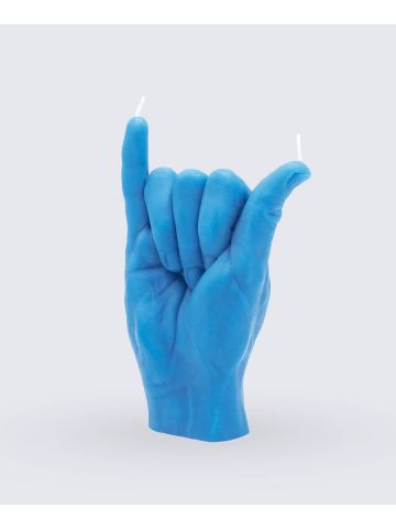 Blue Shaka hand gesture candle
