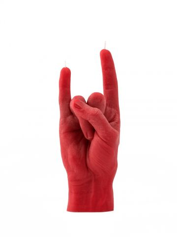 You Rock red hand gesture candle