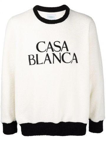 Maglione in felpa bianca con stampa logo
