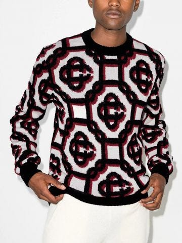 White 3D monogram print sweater