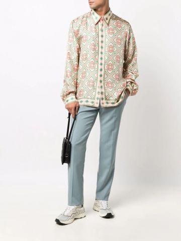 Monogram-print silk shirt