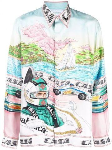 Embroidered button-down silk shirt