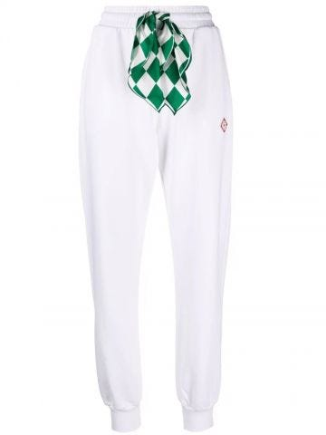 White loopback scarf-detail track pants