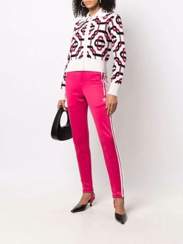 White zipped sweater with graphic print