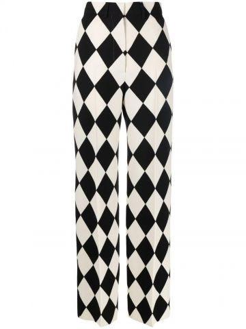 Black diamond-print high-waisted trousers