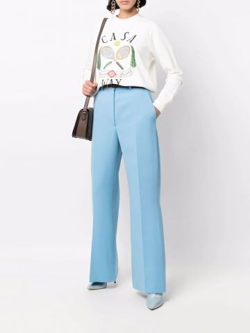 Blue flared tailored trousers