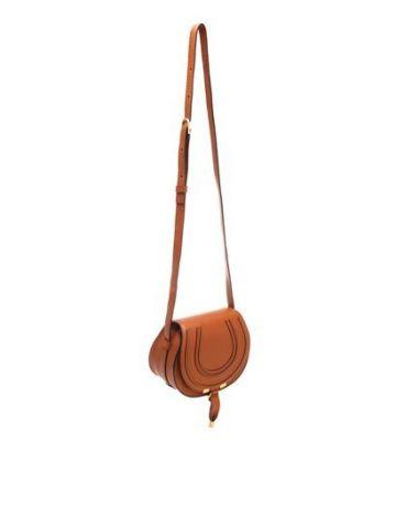 Brown Mini Marcie saddle bag in grained calfskin