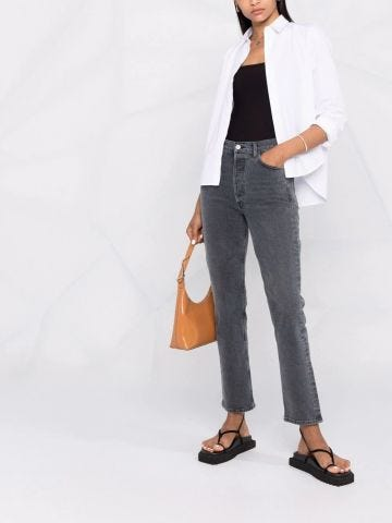 Grey high-rise skinny jeans