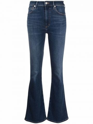 Blue flared jeans with gradient