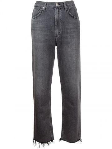 High-waisted grey straight Daphne jeans