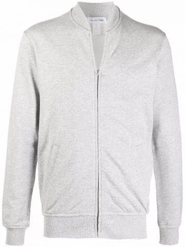 Grey jersey zip-up sweatshirt