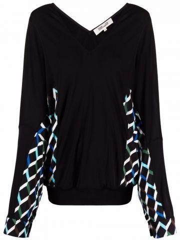 Black V-neck jumper with multicoloured detailing