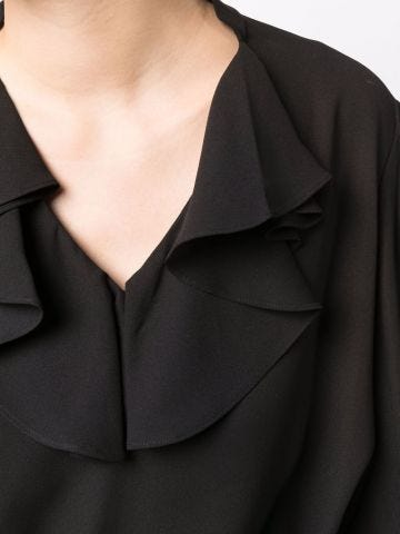 Black blouse with ruffles