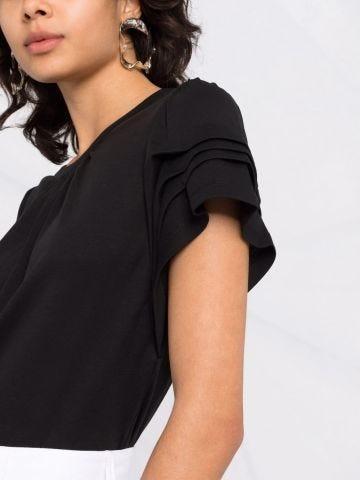Black T-shirt with ruffles