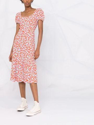 Multicolored print midi dress
