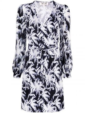 Black midi dress with palms