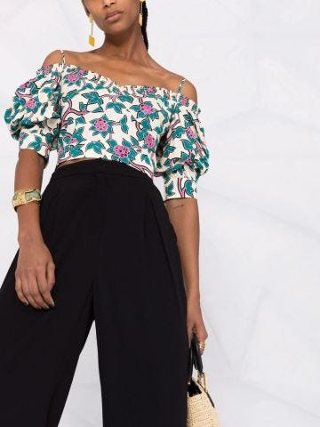 High-waisted black palazzo trousers
