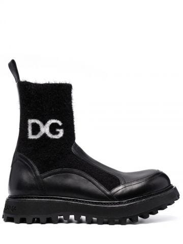 Black horse calfskin ankle boots with branded sock