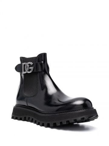 Black brushed calfskin ankle boots with extra-light sole