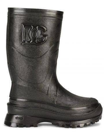 Black metallic rubber boots with DG logo