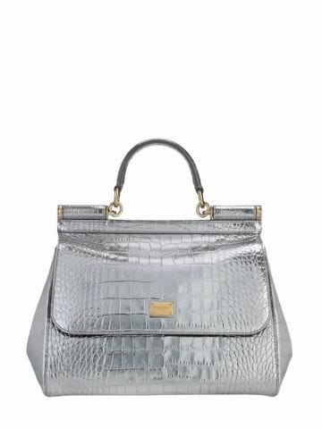 Silver medium Sicily bag in foiled crocodile-print calfskin