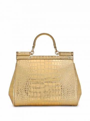 Small golden Sicily bag in laminated crocodile-print calfskin