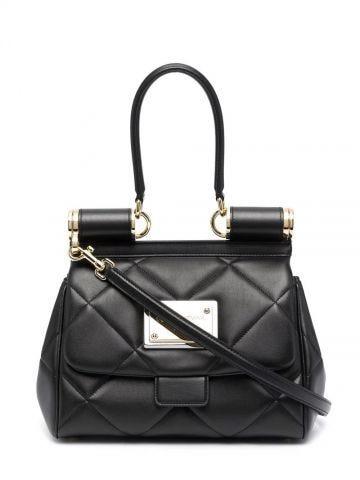 Medium 90s Sicily bag in black quilted Aria calfskin