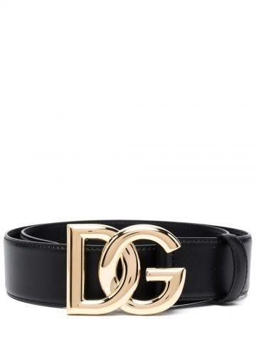 Black calfskin belt with DG logo