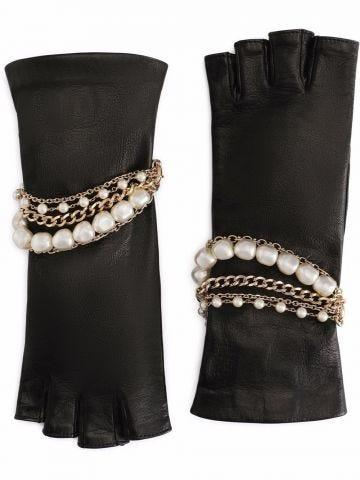 Black nappa leather gloves with bejeweled bracelet embellishment