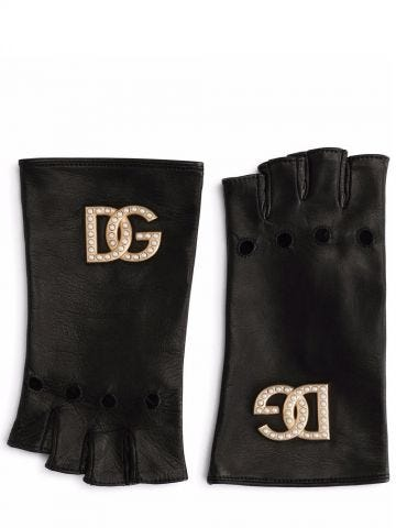 Black nappa leather gloves with DG logo and pearls