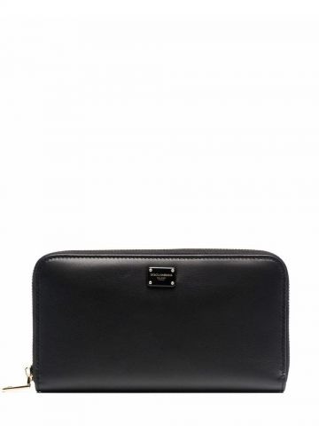 Black logo-plaque leather zipped wallet