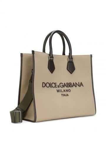 Borsa shopping Edge in canvas beige con logo ricamato