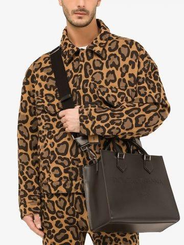 Black calfskin Edge shopper bag with logo
