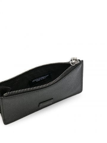 Black dauphine calfskin card holder with ring branded plate