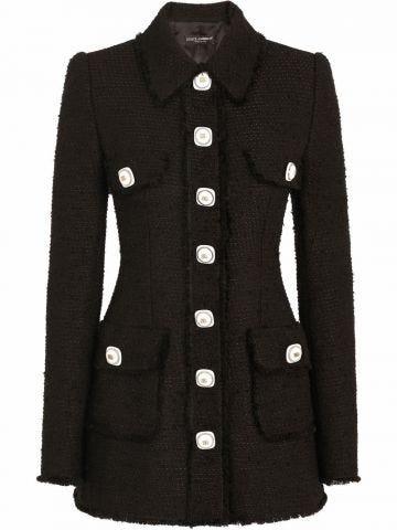Giacca monopetto in tweed nero con bottoni decoro DG