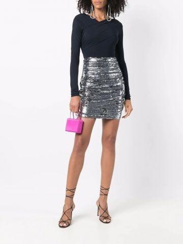 High-waisted silver mini skirt