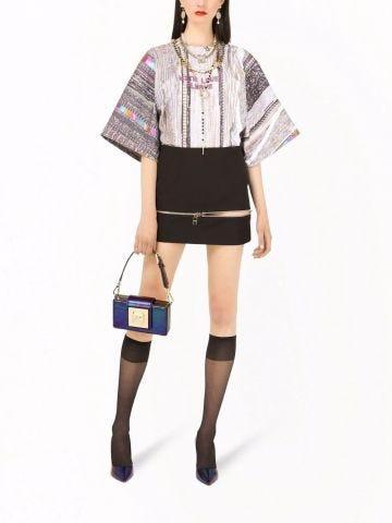 Black zip-up flared skirt