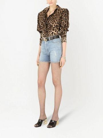Leopard-print structured shirt