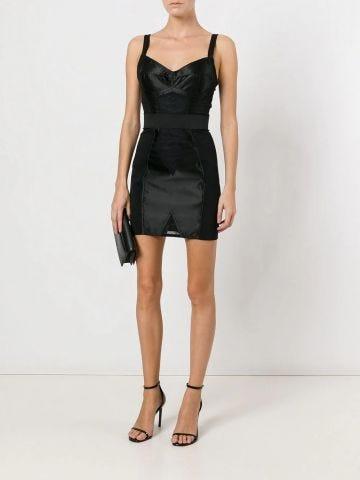 Miniabito corsetteria in raso e pizzo nero