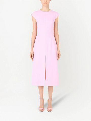 Pink crepe calf-length dress with slit