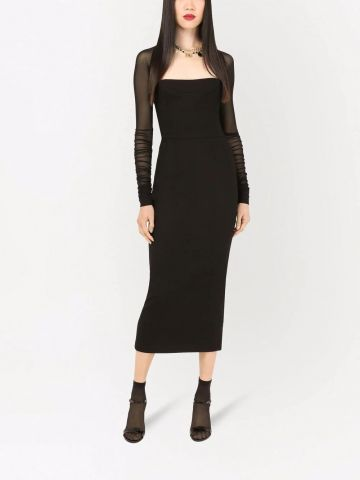 Black sheer-sleeve mid-length dress